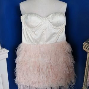 Blaque Strapless Mini with Feathers - NWT